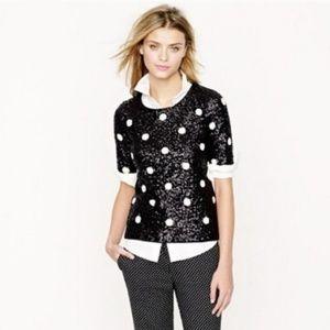 SOLD❌ J Crew Sequin Polka Dot Short Sleeve Shirt M
